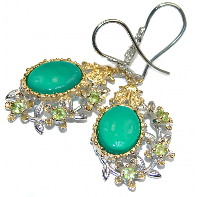 Vintage Design Green Agate 18K Gold over .925 Sterling Silver handmade Earrings