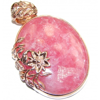 Top Quality Genuine Argentinian Rhodochrosite 18K Gold over.925 Sterling Silver handmade Pendant