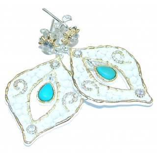 Rich Design Turquoise 18k Gold over .925 Sterling Silver in Antique White Patina handcrafted earrings