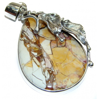 Beautiful genuine Australian Bracciated Mookaite .925 Sterling Silver handcrafted Pendant