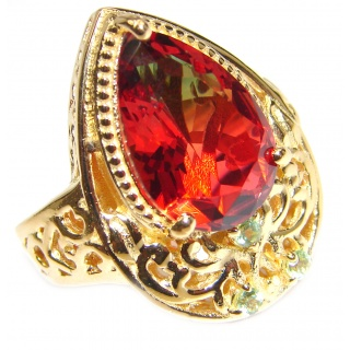 Top Quality Magic Tourmaline 18K Gold over .925 Sterling Silver handcrafted Ring s. 6 1/2