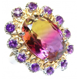 HUGE Bi-color Ametrine 14K Gold over .925 Sterling Silver handcrafted Ring s. 7 1/4