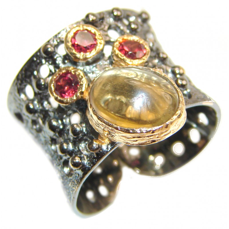 Vintage Style 9ct Natural Citrine 18ct Gold over .925 Sterling Silver handcrafted Ring s. 7 adjustable