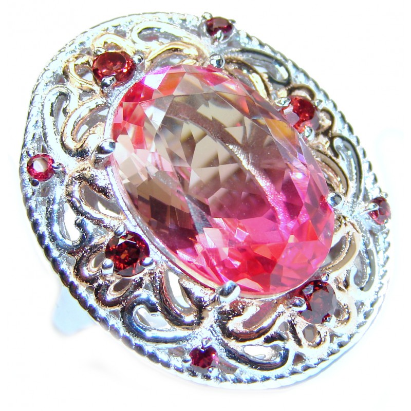 Huge Top Quality Volcanic Pink Tourmaline 18 K Gold over .925 Sterling Silver handcrafted Ring s. 7 3/4
