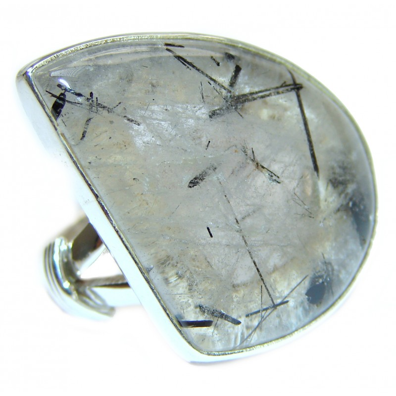 Mysterious Tourmalinated Quartz .925 Sterling Silver handmad ring s. 9