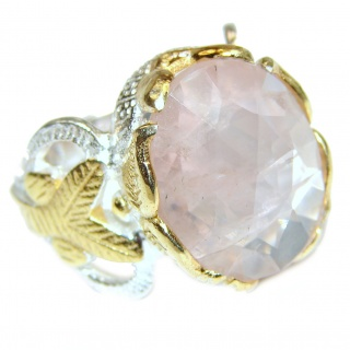 Authentic faceted Rose Quartz 18K Gold over .925 Sterling Silver handcrafted ring s. 5 3/4