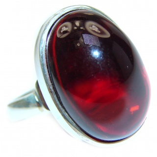 Excellent quality Cherry Authentic Baltic Amber Sterling Silver Ring s. 8 adjustable