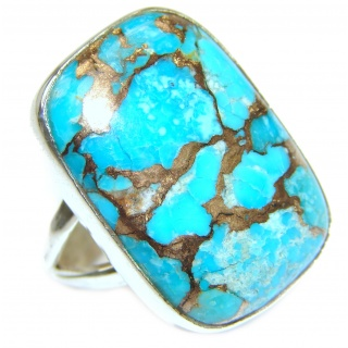 Blue Copper Turquoise .925 Sterling Silver ring; s. 7