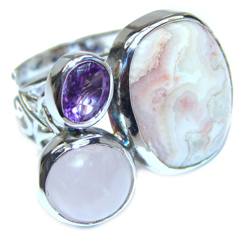Excellent quality Crazy Lace Agate .925 Sterling Silver Ring s. 7 adjustable