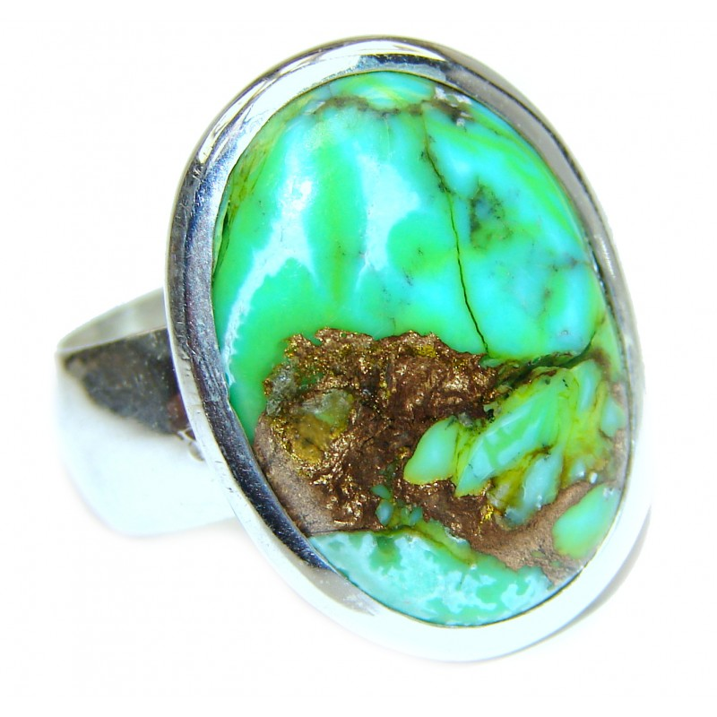 Copper Turquoise .925 Sterling Silver ring; s. 6 3/4
