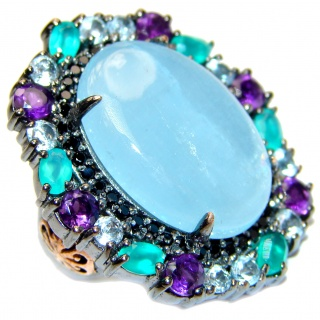 Natural HUGE 65ct Aquamarine Emerald Black Rhodium over .925 Sterling Silver handcrafted Ring s. 7