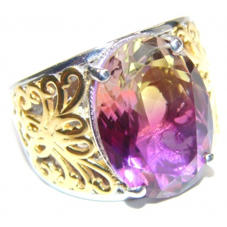 HUGE oval cut Ametrine 18K Gold over .925 Sterling Silver handcrafted Ring s. 8
