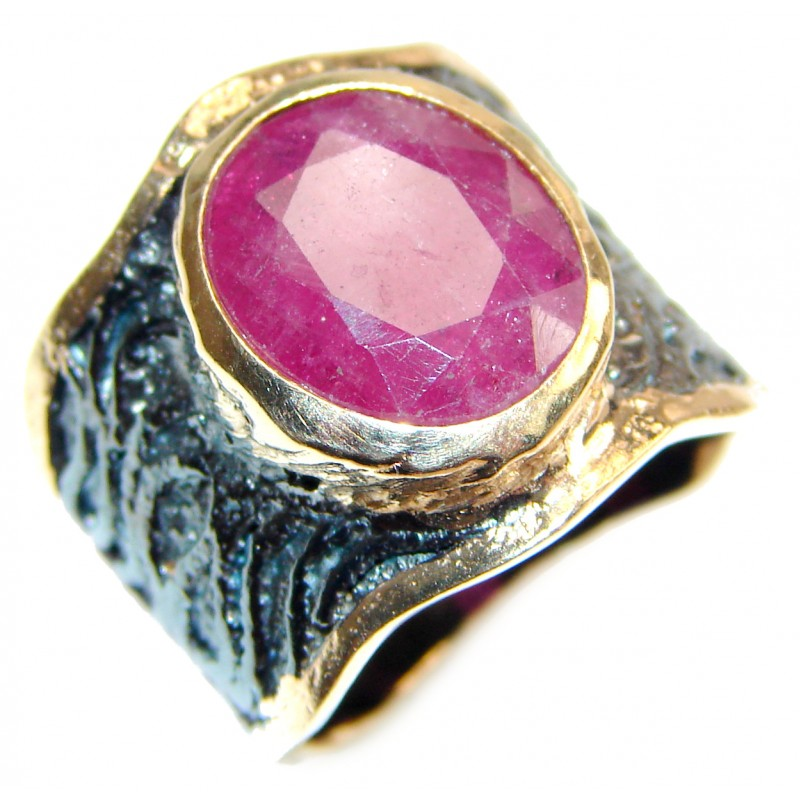 Large genuine Ruby 18K Gold over .925 Sterling Silver Statement Italy made ring; s. 6