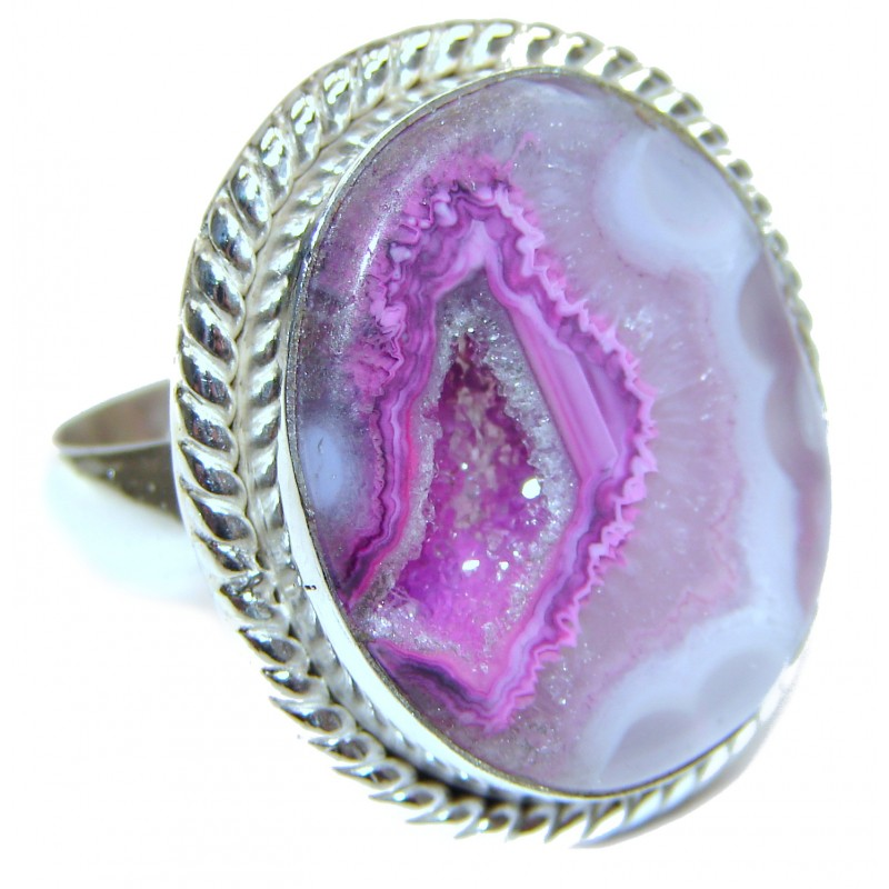Exotic Druzy Agate Sterling Silver Ring s. 12