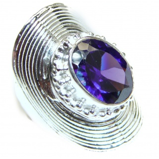 Huge Purple Quartz .925 Sterling Silver handcrafted ring; s. 8 1/4
