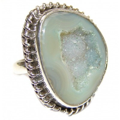 Exotic Druzy Agate Sterling Silver Ring s. 8 1/4