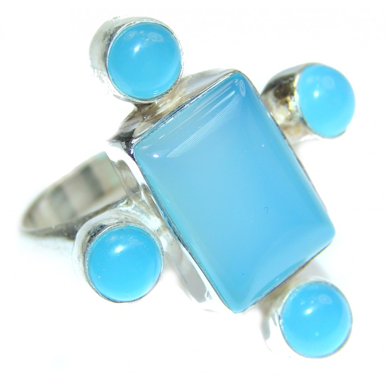 Blue Chalcedony Agate .925 Sterling Silver handcrafted Ring s. 7 3/4