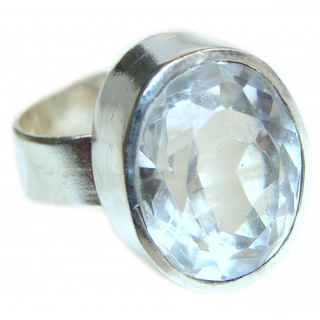 White Topaz .925 Sterling Silver handmade Ring s. 8 1/4