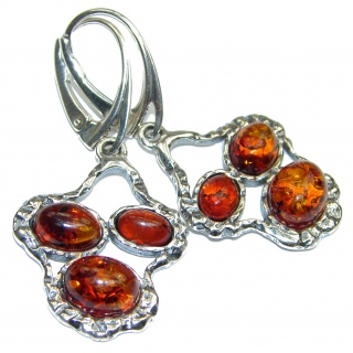 Authentic Baltic Amber .925 Sterling Silver handmade Earrings