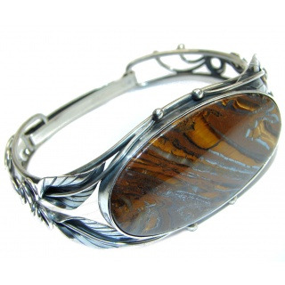 Simply Gorgeous Silky Golden Tigers Eye .925 Sterling Silver Bracelet / Cuff