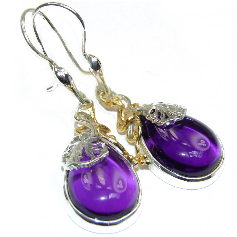 Nature Inspired Authentic Amethyst 18K Gold over .925 Sterling Silver handmade earrings