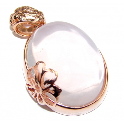 Perfect Rose Quartz 18K Gold over .925 Sterling Silver handmade pendant