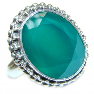 Green Jade .925 Sterling Silver ring s. 10