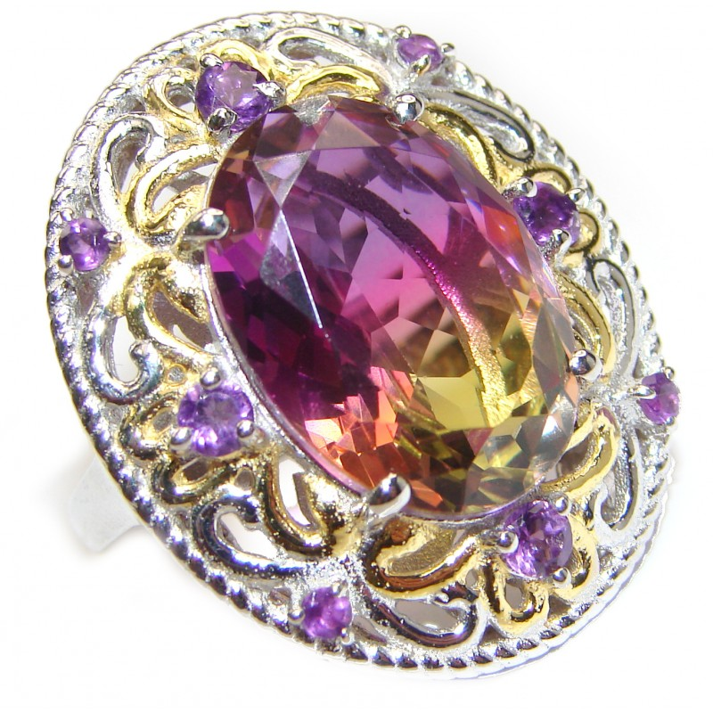 HUGE Oval cut Ametrine 18K Gold over .925 Sterling Silver handcrafted Ring s. 7 3/4
