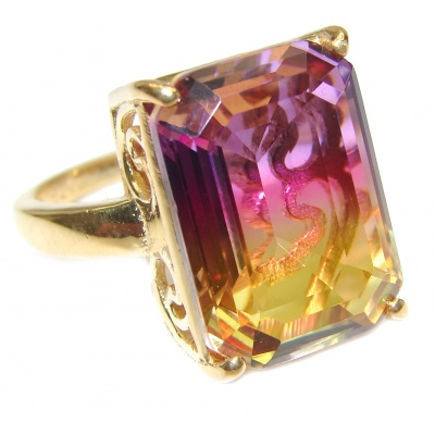 HUGE emerald cut Ametrine 18K Gold over .925 Sterling Silver handcrafted Ring s. 8 1/4