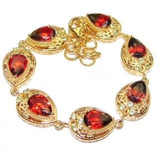 Luxury Tourmaline color Topaz 18K Gold over .925 Sterling Silver handmade Bracelet