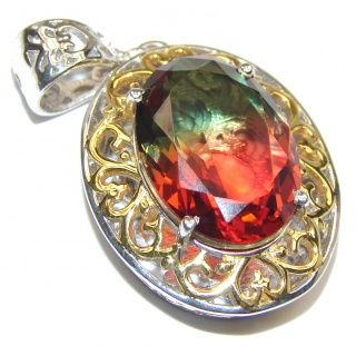 Deluxe oval cut Pink Watermelon Tourmaline 18K Gold over .925 Sterling Silver handmade Pendant