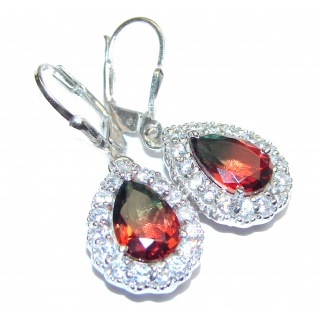 Red Tourmaline .925 Sterling Silver entirely handmade earrings