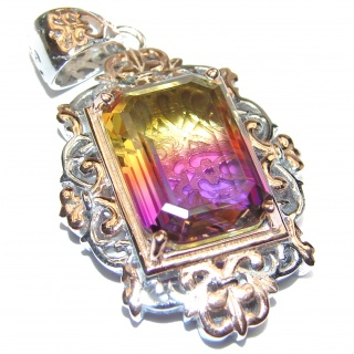 Spectacular Bi-color Royal Ametrine 18K Gold over .925 Sterling Silver handmade Pendant