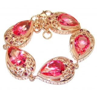 Large Luxury oval cut Pink Tourmaline .925 Sterling Silver handmade Bracelet