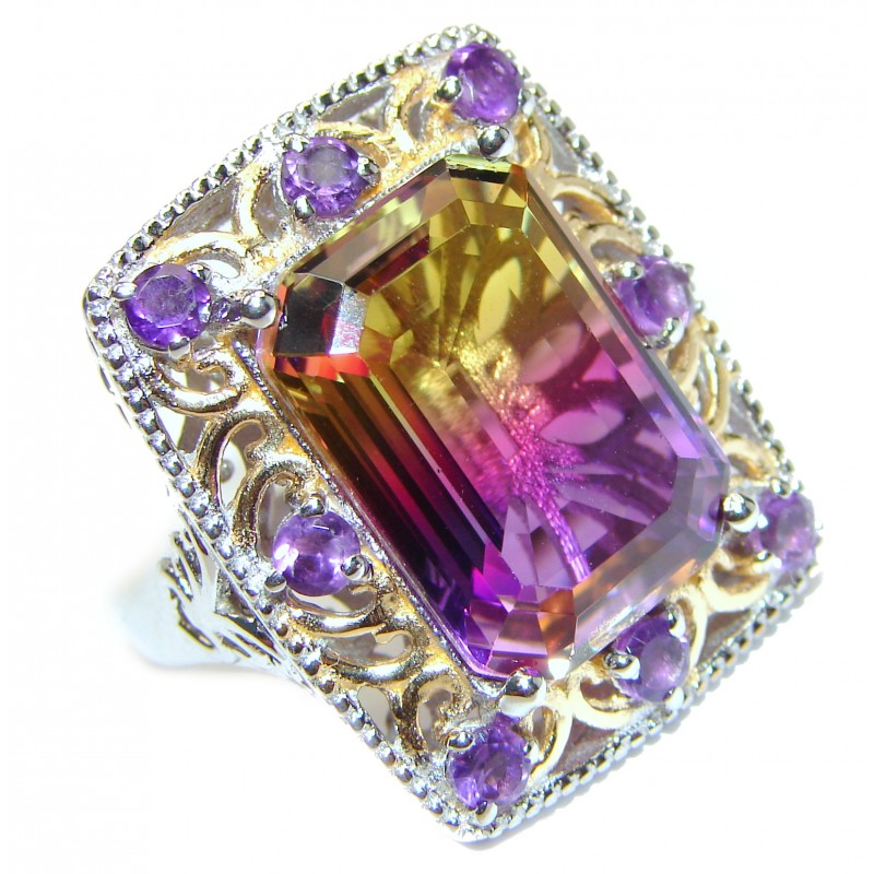 HUGE Emerald cut Ametrine 18K Gold over .925 Sterling Silver handcrafted Ring s. 8 1/2