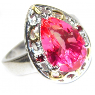 HUGE pear cut Pink Tourmaline 18K Gold over .925 Sterling Silver handcrafted Ring s. 9 1/4