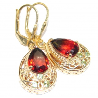 Precious Tourmaline 18K Gold over .925 Sterling Silver entirely handmade earrings