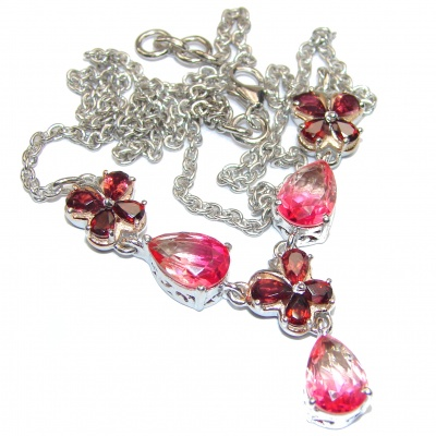 Pear cut Pink Tourmaine Garnet .925 Sterling Silver handcrafted necklace