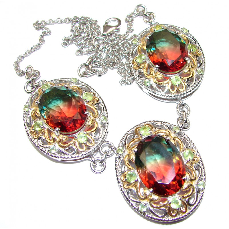 Oval cut Watermelon Tourmaline 18K Gold over .925 Sterling Silver handcrafted necklace