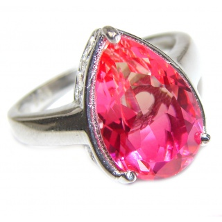 Genuine 25ct Pink Tourmaline .925 Sterling Silver handcrafted ring; s. 8 3/4