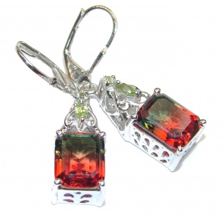 Watermelon Tourmaline .925 Sterling Silver entirely handmade earrings