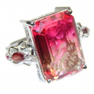 Genuine 25ct Pink Tourmaline color Topaz .925 Sterling Silver handcrafted ring; s. 7 1/4