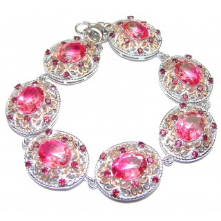 Luxury Volcanic Pink Tourmaline 18K Gold over .925 Sterling Silver handmade Bracelet