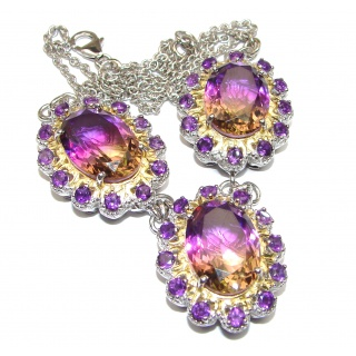 Spectacular Large Oval cut Ametrine 18K Gold over .925 Sterling Silver handcrafted necklace