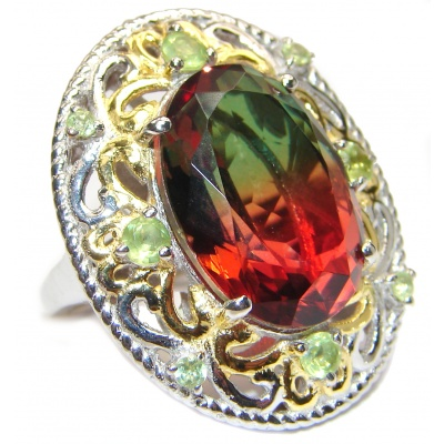 HUGE Watermelon Tourmaline 18K Gold over .925 Sterling Silver handcrafted Ring s. 6