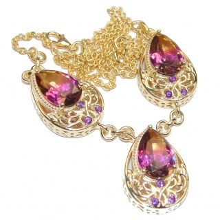 Pear cut Bi-color Ametrine 18K Gold over .925 Sterling Silver handcrafted necklace