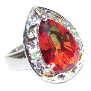 Top Quality Magic Tourmaline 18K Gold over .925 Sterling Silver handcrafted Ring s. 6 3/4