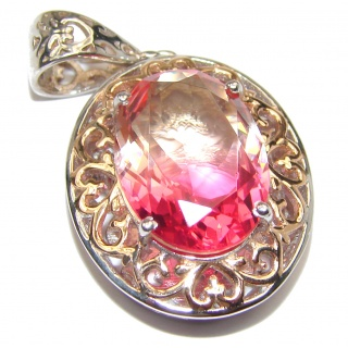 Deluxe Pear cut pink Topaz 18K Gold over .925 Sterling Silver handmade Pendant