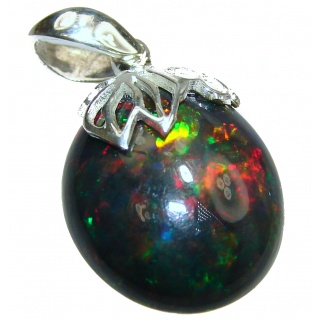 Perfection Authentic Black Opal .925 Sterling Silver handmade Pendant