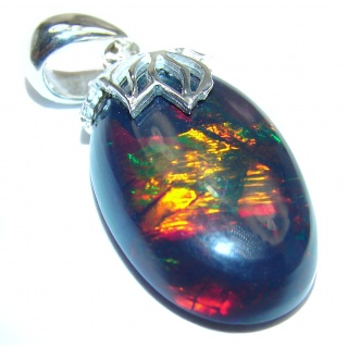Big Perfection Authentic Black Opal .925 Sterling Silver handmade Pendant